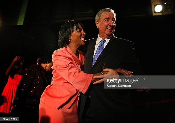 Jackie Lacey candidate for District Attorney of Los Angeles gets a congratulatory hig fro mformer DA Sreve Cooley at her campaign party at Union...