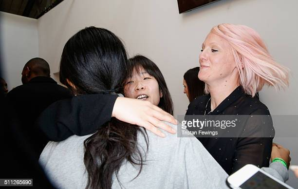 Jackie Lee backstage after her J JS Lee show during London Fashion Week Autumn/Winter 2016/17 at Brewer Street Car Park on February 19 2016 in London...