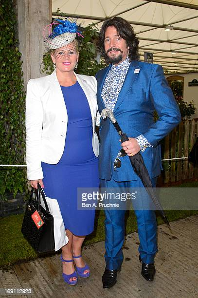 Jackie LlewelynBowen and Laurence LlewelynBowen attends the Chelsea Flower Show press and VIP preview day at Royal Hospital Chelsea on May 20 2013 in...