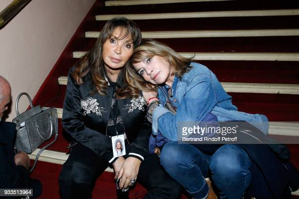 Jackie Lombard and Nicole Calfan attend Sylvie Vartan performs at Le Grand Rex on March 16 2018 in Paris France