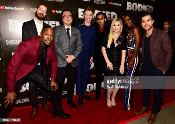 Jackie Long Alex Larsen Joseph Kahn Calum Worthy Adi Shankar Rory Uphold Candice Renee and Walter Perez attend Los Angeles Premiere of YouTube...