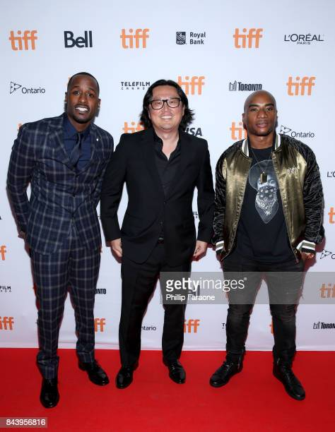 Jackie Long Joseph Kahn and Charlamagne tha God attend the 'Bodied' premiere during the 2017 Toronto International Film Festival at Ryerson Theatre...