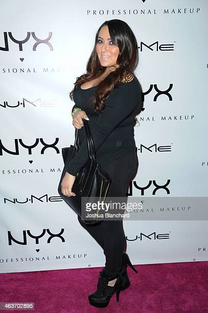 Jackie Madrano arrives at the NYX Cosmetics Spring 2014 Launch Event at Regne Haute Blow Dry Salon on January 18 2014 in Pasadena California