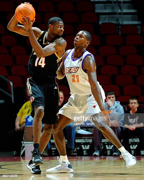 Jackie Manuel of the Erie Bayhawks keeps the ball away from Patrick Sanders of the Iowa Energy on February 23 2009 at Wells Fargo Arena in Des Moines...