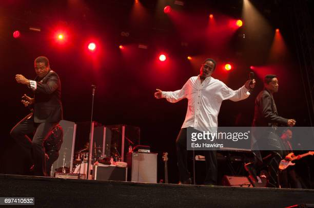 Jackie Marlon and Jermaine of the The Jacksons perform live on stage at Blenheim Palace on June 18 2017 in Woodstock England