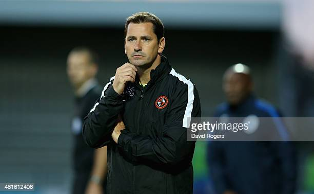 Jackie McNamara the Dundee United manager looks on during the pre season friendly match between Queens Park Rangers and Dundee United at The Hive on...