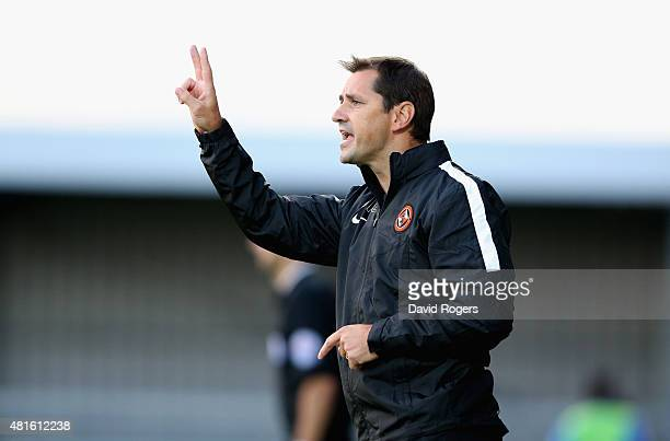 Jackie McNamara the Dundee United manager shouts instructions during the pre season friendly match between Queens Park Rangers and Dundee United at...
