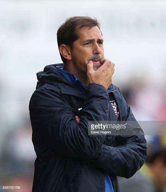 Jackie McNamara the York City manager shouts instructions during the pre season friendly match between York City and Middlesbrough at Bootham...