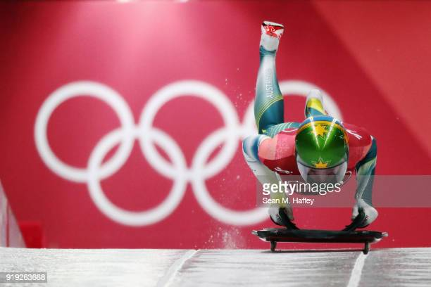 Jackie Narracott of Australia makes her final a run during the Women's Skeleton on day eight of the PyeongChang 2018 Winter Olympic Games at Olympic...