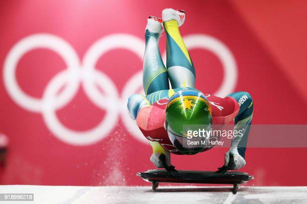 Jackie Narracott of Australia slides during the Women's Skeleton at Olympic Sliding Centre on February 16 2018 in Pyeongchanggun South Korea