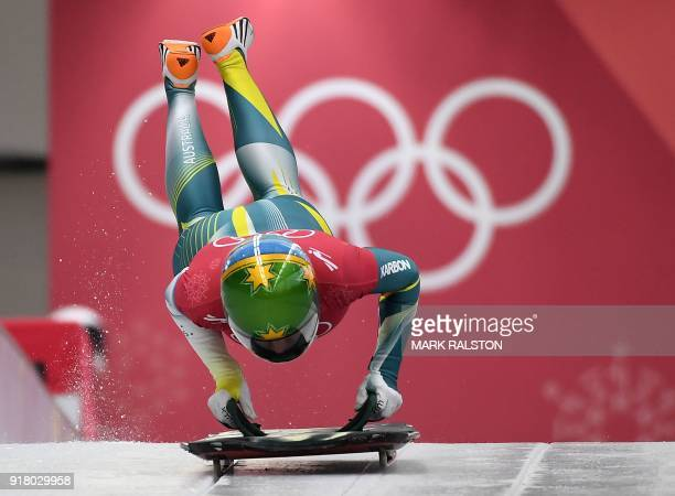 Jackie Narracott of Australia starts her womens skeleton training session at the Olympic Sliding Centre during the Pyeongchang 2018 Winter Olympic...