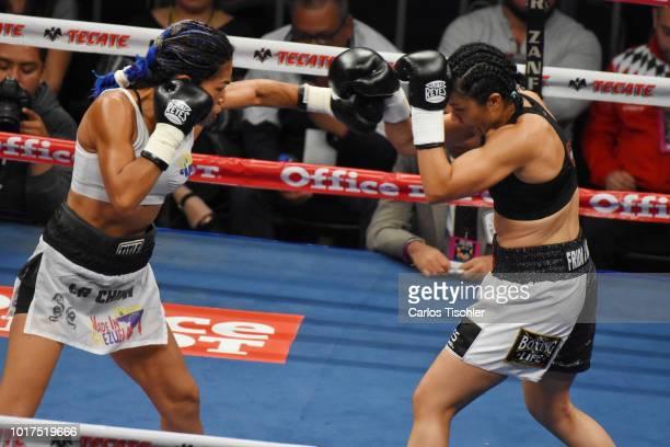 Jackie Nava and Alys Sanchez fight during the WBA Bantamweight International Championship Fight between Jackie Nava and Alys Sanchez at Arena Ciudad...