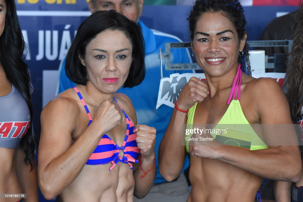 Jackie Nava and Alys Sanchez pose for photos during a weigh-in on August 10, 2018 in Mexico City, Mexico. Mariana 'Barby' Juarez of Mexico will fight against Terumi Nuki of Japan for the WBA Bantamweight World Championship and Jackie Nava of Mexico will fight Alys Sanchez of Venezuela for the WBA Bantamweight International Championship on August 11.