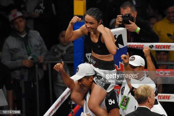 Jackie Nava Celebrate victory during the WBA Bantamweight International Championship Fight between Jackie Nava and Alys Sanchez at Arena Ciudad de...