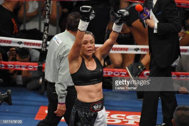 Jackie Nava celebrates during the WBA Bantamweight International Championship Fight between Jackie Nava and Alys Sanchez at Arena Ciudad de Mexico on...