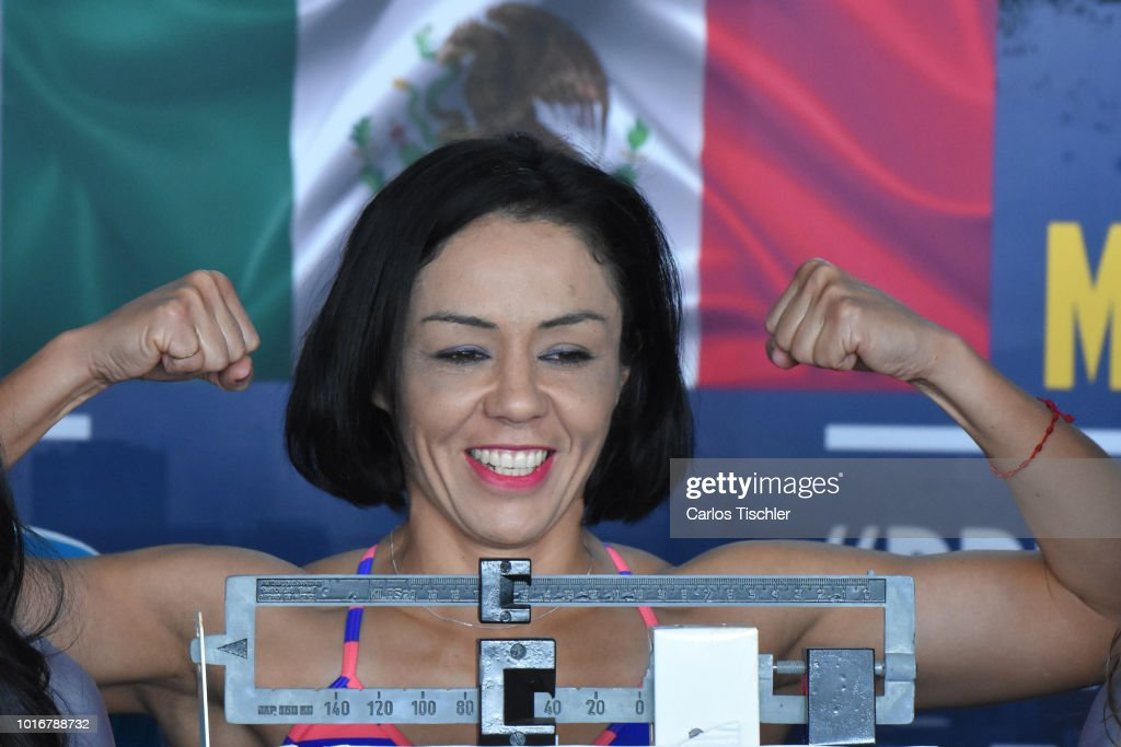 Jackie Nava poses for photos during a weigh-in on August 10, 2018 in Mexico City, Mexico. Mariana 'Barby' Juarez of Mexico will fight against Terumi Nuki of Japan for the WBA Bantamweight World Championship and Jackie Nava of Mexico will fight Alys Sanchez of Venezuela for the WBA Bantamweight International Championship on August 11.
