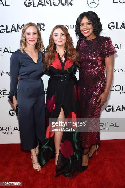 Jackie Nelson Glamour EditorinChief Samantha Barry and SVP Marketing L'Oreal Paris Anne Marie NelsonBogle attends the 2018 Glamour Women Of The Year...