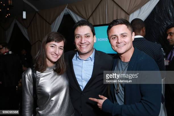 Jackie Neon guest and Arturo Castro during the Founder CEO Tarik Sansal Invites You to Celebrate the Launch of ROMIO at NoMad Hotel Rooftop on March...