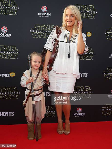 Jackie O and her daughter Catalina Henderson arrive ahead of the 'Star Wars The Force Awakens' Australian premiere on December 16 2015 in Sydney...