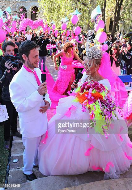 Jackie O and Lee Henderson look on during Kyle Jackie O's Big Fat Gypsy Wedding at Curzon Hall Marsfield on August 31 2012 in Sydney Australia