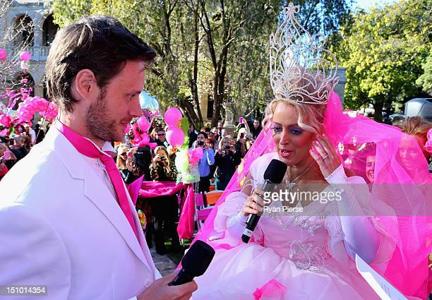 Jackie O and Lee Henderson stand on the altar during Kyle Jackie O's Big Fat Gypsy Wedding at Curzon Hall Marsfield on August 31 2012 in Sydney...