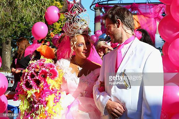 Jackie O and Lee Henderson walk down the aisle during Kyle Jackie O's Big Fat Gypsy Wedding at Curzon Hall Marsfield on August 31 2012 in Sydney...