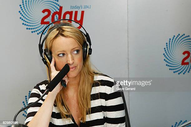 Jackie O appears on the 2Day FM Kyle and Jackie O Breakfast show at World Square on September 24 2008 in Sydney Australia