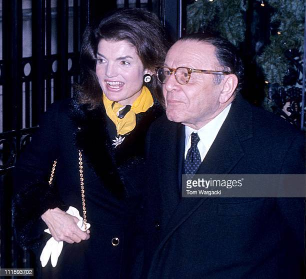 Jackie Onassis and Andre Meyer during Jackie Onassis Sighting December 9 1973 at 21 Club in New York City United States