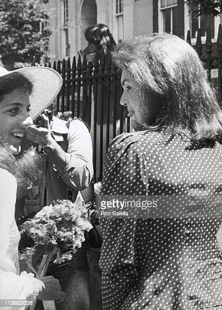 Jackie Onassis and Caroline Kennedy during Wedding of Courtney Kennedy and Jeff Ruhe at Holy Trinity Church in Georgetown Washington DC United States