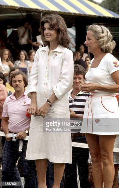 Jackie Onassis and Ethel Kennedy during 4th Annual RFK Pro Celebrity Tennis Tournament at Forest Hills in Forest Hills New York United States