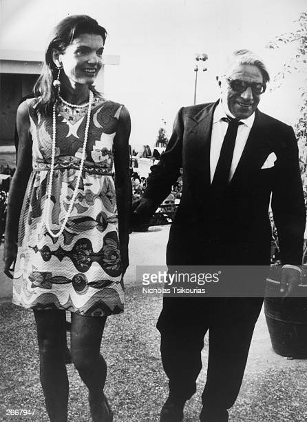 Jackie Onassis and her husband Aristotle Onassis leave an Athens nightclub at 7am after celebrating Jackie's 40th birthday.
