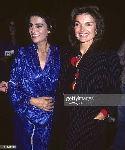 Jackie Onassis and Irene Papas during Jackie Onassis And Caroline Kennedy At The Bacchae in New York City New York United States