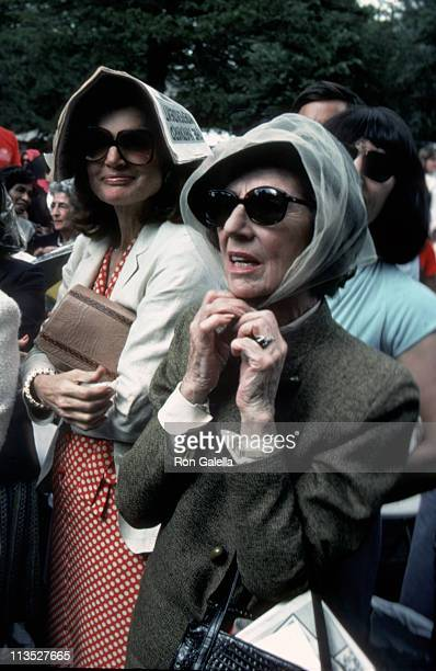 Jackie Onassis and Janet Auchincloss during Caroline Michael Kennedy's Graduation From Harvard at Harvard University in Cambridge Massachusetts...