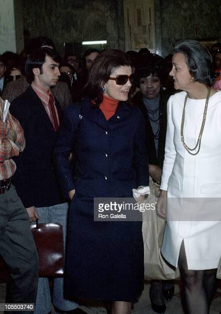 Jackie Onassis and Katharine Graham during Jackie Onassis And Katharine Graham At The Newsweek Building 1969 at Newsweek Building in New York New...
