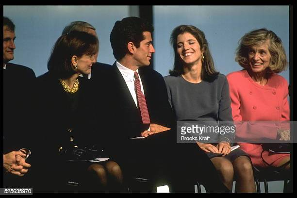 Jackie Onassis with her children JohnJohn and Caroline Kennedy and sisterinlaw Eunice Shriver
