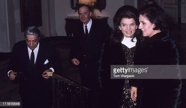Jackie Onassis with her husband Aristotle Onassis during Jackie Onassis and Aristotle Onassis at The Carlyle Hotel at The Carlyle Hotel in New York...