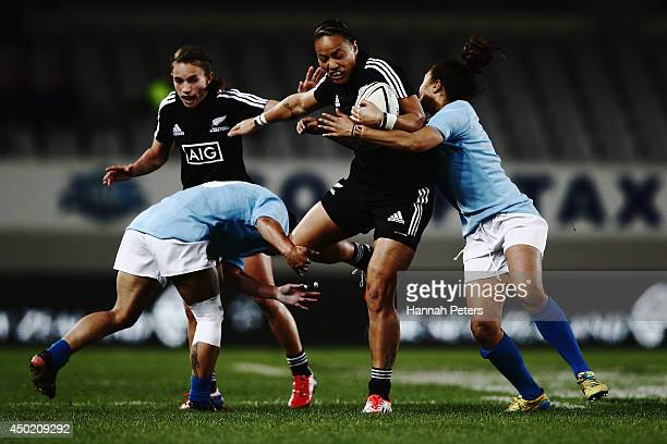 Jackie Patea of the Black Ferns charges forward during the Women's International Test Match between the New Zealand Black Ferns and Samoa at Eden...