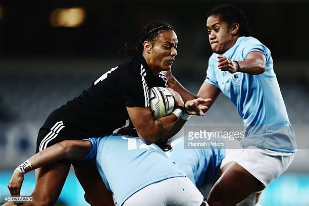 Jackie Patea of the Black Ferns makes a break during the Women's International Test Match between the New Zealand Black Ferns and Samoa at Eden Park...