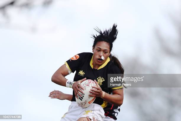 Jackie PateaFereti of Wellington wins lineout ball during the round five Farah Palmer Cup match between North Harbour Hibiscus and Wellington Pride...