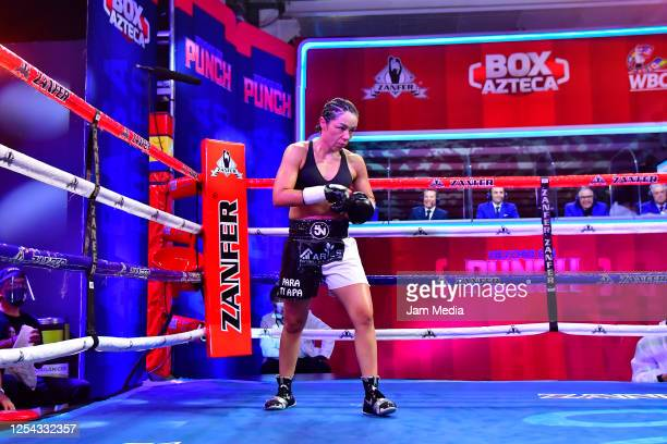 Jackie 'Princesa' Nava during get ready in his corner an unofficial fight at TV Azteca as part of Volvemos con Punch TV show on July 4 2020 in Mexico...