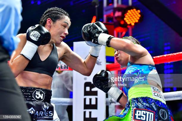 Jackie 'Princesa' Nava in action against Estrella 'Chacala' Valverde during an unofficial fight at TV Azteca as part of Volvemos con Punch TV show on...