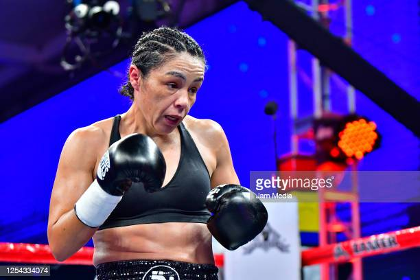 Jackie 'Princesa' Nava looks on during an unofficial fight against Estrella 'Chacala' Valverde at TV Azteca as part of Volvemos con Punch TV show on...