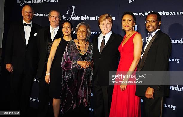 Jackie Robinson Awards at the Waldorf Astoria John McGlade Len Coleman Della Britton Baeza Rachel Robinson Robert Redford Robin Roberts and Dr Ben...
