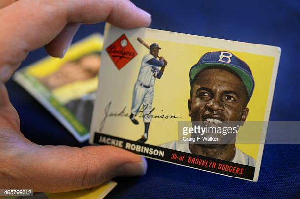 Jackie Robinson baseball card displayed by the Unclaimed Property Division of the Colorado State Treasurer at the State Capitol in Denver CO March 10...