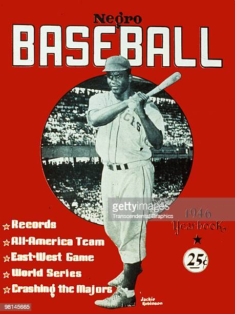 Jackie Robinson is the featured star on the cover of Negro Baseball magazine for 1946.