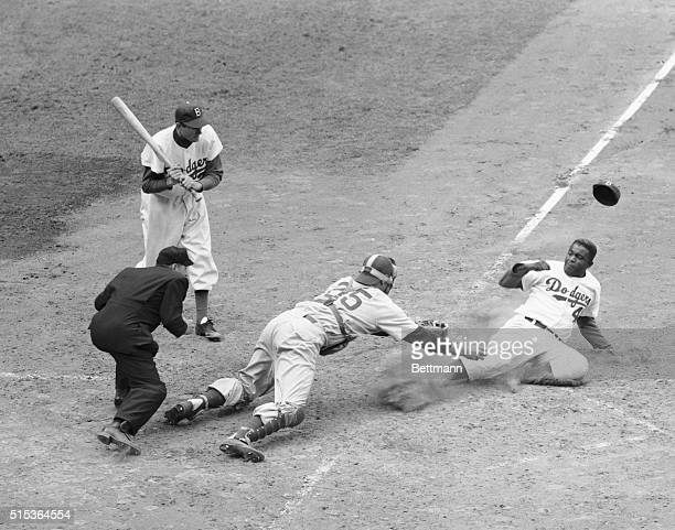 Jackie Robinson Safe on Double Steal