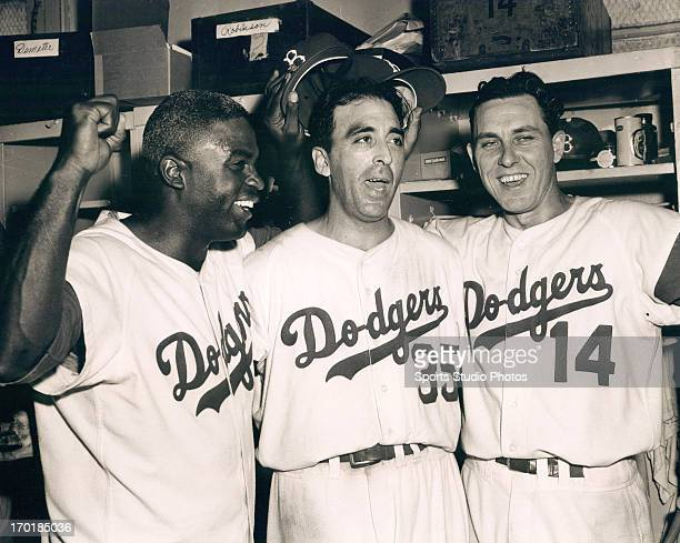 Jackie Robinson Sal Maglie and Gil Hodges celebrate another Brooklyn Dogders Victory