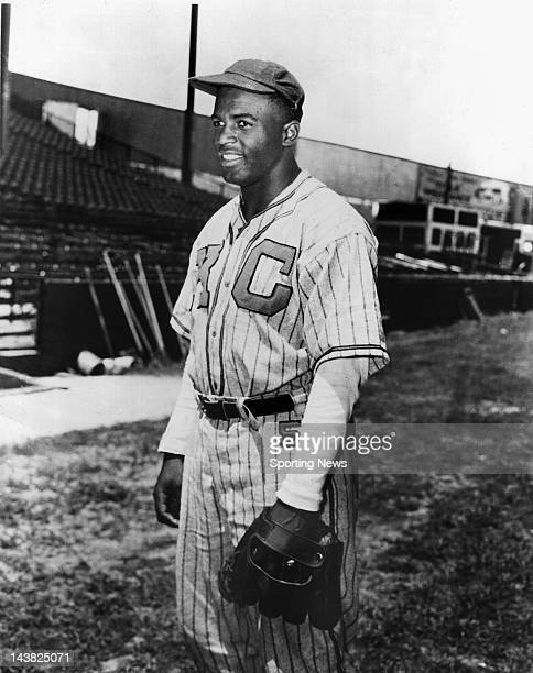 Jackie Robinson the first black player in Major League Baseball pictured as a shortstop for the Kansas City Monarchs of the Negro Leagues in 1944...