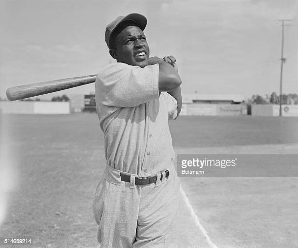 Jackie Robinson's stance at bat while while working out with Montreal Royals during traing at Stanford, FLorida. PHOTO, UNDATED.