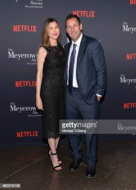 Jackie Sandler and actor Adam Sandler attend a screening of Netflix's The Meyerowitz Stories at Directors Guild Of America on October 11 2017 in Los...